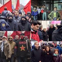 Shod za migrante Kotnikova ulica Ljubljana 2015, na sliki desno na sredini Milan Kučan in predsednik sindikata SVIZ Branimir Štrukelj, na sliki desno spodaj Tanja Fajon evroposlanka iz vrst SD