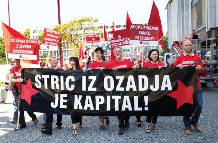 Predsednik Levice - Luka Mesec na demonstracijah proti kapitalizmu 2015 leta